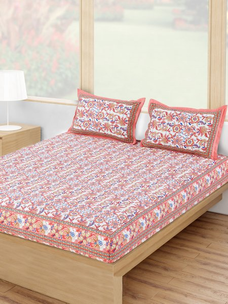 100% Cotton 120 TC Double Bedsheet Set.
