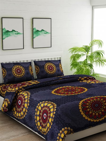 100% Cotton 120 TC King size Bedsheet With 2 Pillow covers.