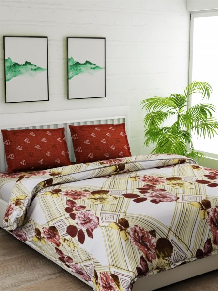 144 TC Printed Yellow Bedsheet With 2 Pillow cover