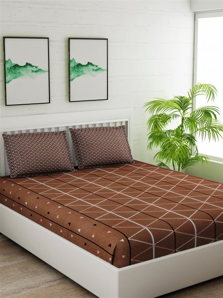 144 TC STRIPED Brown Bedsheet With 2 Pillow cover