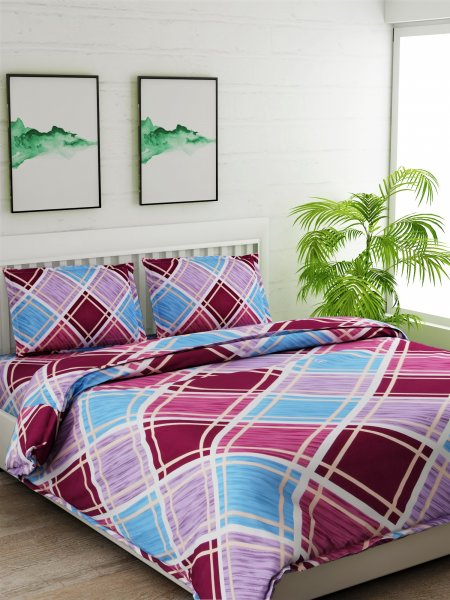 180 TC Geomatry MULTI Bedsheet With 2 Pillow cover