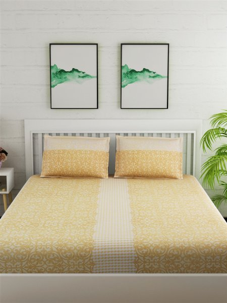 180 TC Printed Yellow Bedsheet With 2 Pillow cover