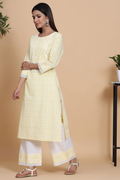 LIGHT YELLOW LACE KURTA PALAZZO SET
