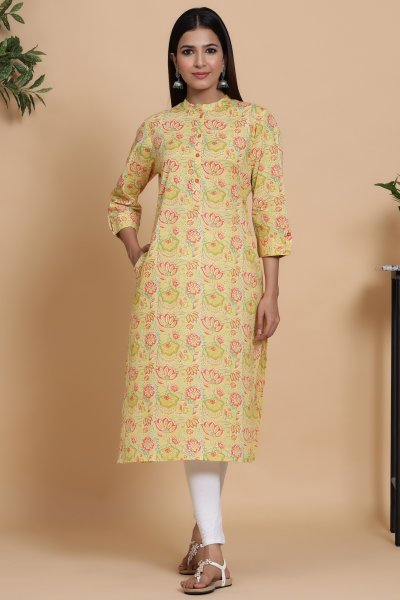 LIME YELLOW STRAIGHT KURTA