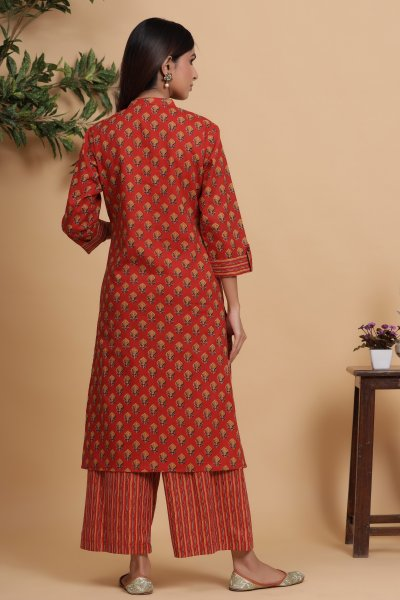 TAN RED KURTA SET