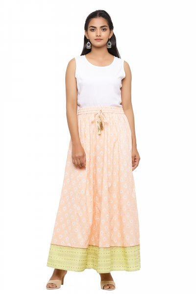 Beige Printed Long Skirt