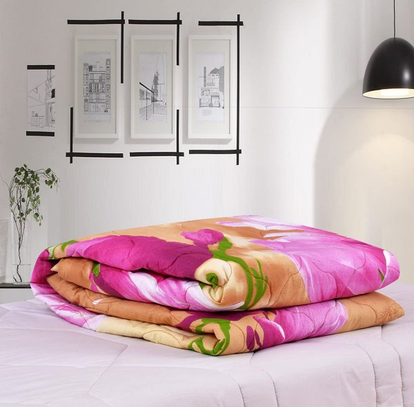 100% Cotton Pink Colored Floral Double Comforter.