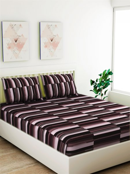 100% Cotton 120 TC 1 King Size Bedsheet  With 2 Pillow Covers.