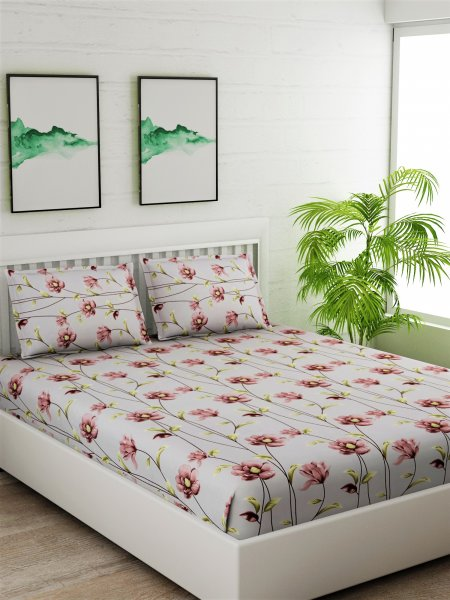 100% Cotton 180 TC King Size (108 Inches X 108 Inches) Bedsheet Set.