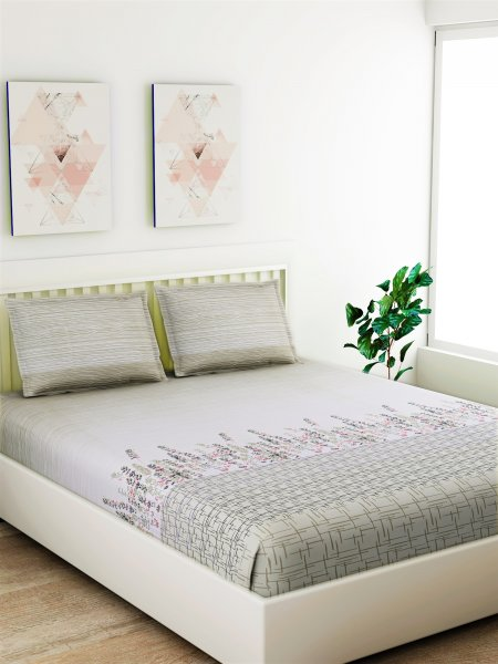 100% Cotton 180 TC King Size Bedsheet Set.