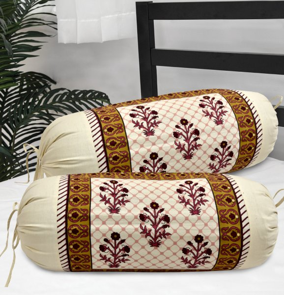 100% Cotton 120 TC Bolster cover set of 2