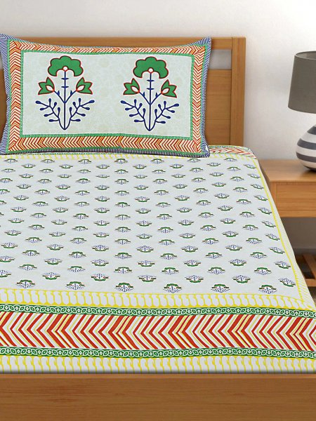 100% Cotton 120 TC Single Bedsheet Set.