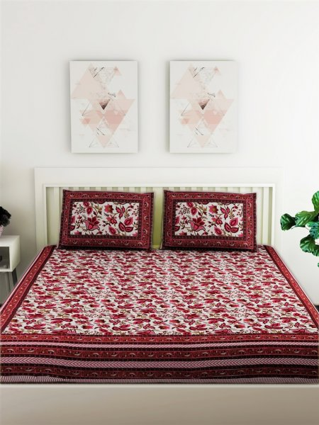 100% Cotton Jaipuri Printed 120 TC 1 Double Bedsheet With 2 Pillow Cover