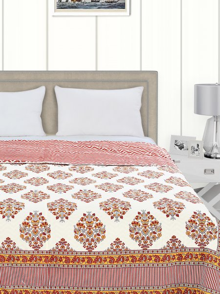 SALONA BICHONA 100% Cotton Double Bed Flannel Printed Dohar