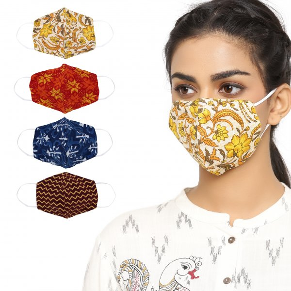 100% Cotton Printed Double Layered Reusable Non surgical Face Mask (Set of 4)