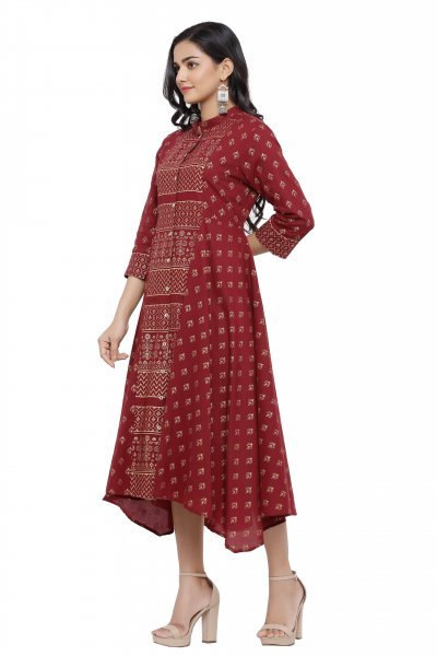 MAROON ASSYMETRICAL DRESS