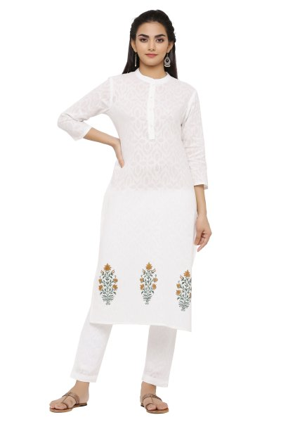 WHITE BLOCK PRINT KURTA PANT SET