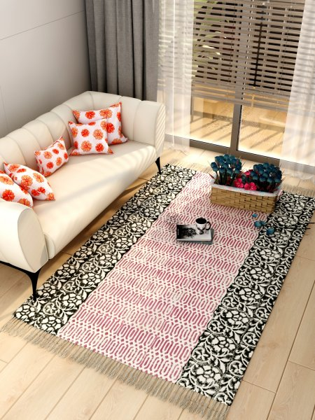 100% Cotton Printed Multi-Purpose Dhurrie/Carpet